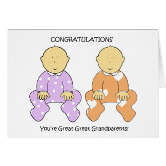 Great Great Grandparents to twins congratulations Card