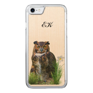 Great Horned Owl and Flower, Monogram Carved iPhone 8/7 Case