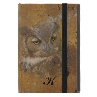 Great Horned Owl Faded on Old Wood, Monogram iPad Mini Case
