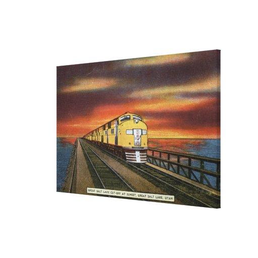 Great Salt Lake Railroad Cutoff Canvas Prints