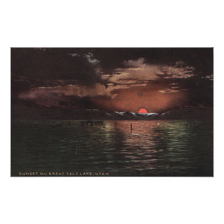 Great Salt Lake, UTSunset Scene on Lake View Print