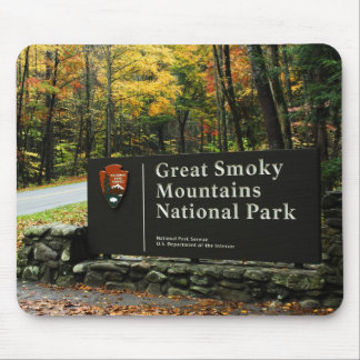 Great Smoky Mountains Park Autumn Sign Mouse Pad
