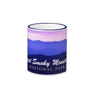 Great Smoky Mountains - Pink skies, blue mountains Ringer Mug