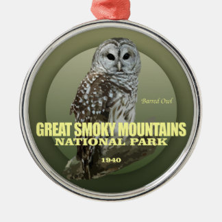 Great Smoky Mtns NP (Barred Owl) WT Silver-Colored Round Decoration