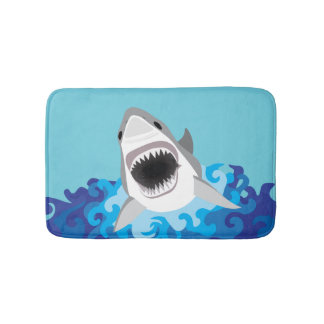 Great White Shark Funny Cartoon Bath Mat