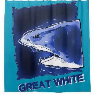 great white shark half body cartoon with text shower curtain