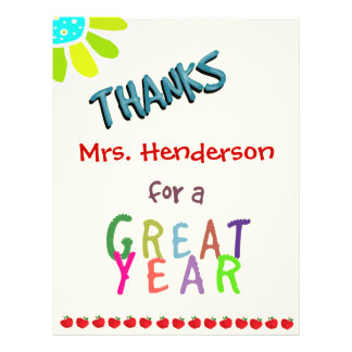 Great Year, Classroom Thank You Card Flyers