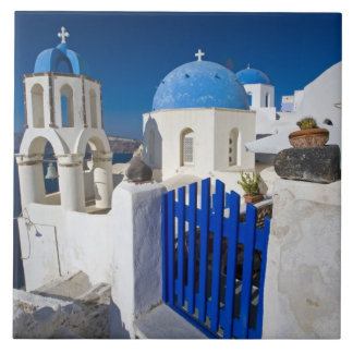 Greece and Greek Island of Santorini town of Oia 3 Large Square Tile