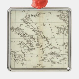 Greece and Turkey Engraved Map Christmas Ornament