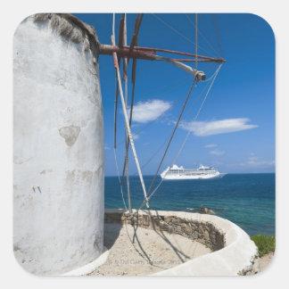 Greece, Cyclades Islands, Mykonos, Old windmill Square Sticker