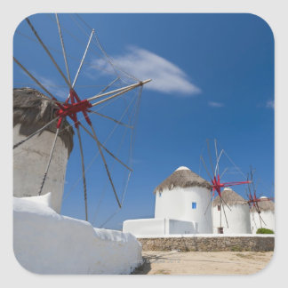 Greece, Cyclades Islands, Mykonos, Old windmills Square Sticker