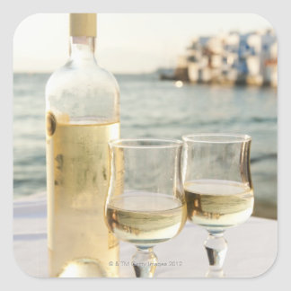 Greece, Cyclades Islands, Mykonos, Wine on table Square Sticker