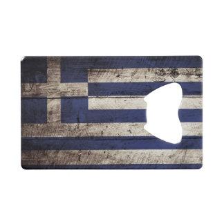 Greece Flag on Old Wood Grain