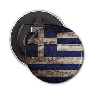 Greece Flag on Old Wood Grain Bottle Opener