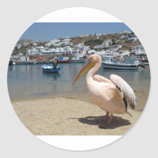 Greece Mykonos petros the pelican (St.K) Classic Round Sticker