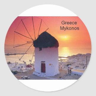 Greece Mykonos Sunset (St.K) Classic Round Sticker