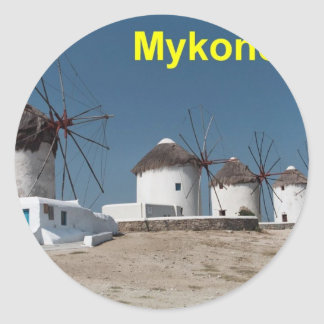 Greece Mykonos Windmills (Aggel) Classic Round Sticker