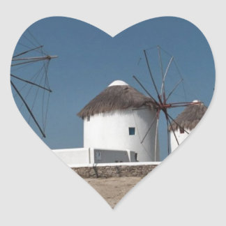 Greece Mykonos Windmills (Aggel) Heart Sticker