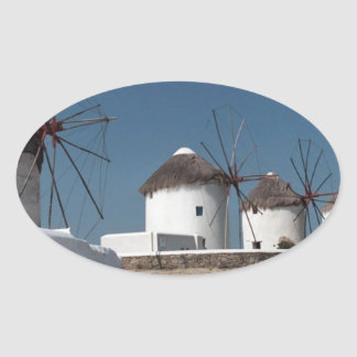 Greece Mykonos Windmills (Aggel) Oval Sticker