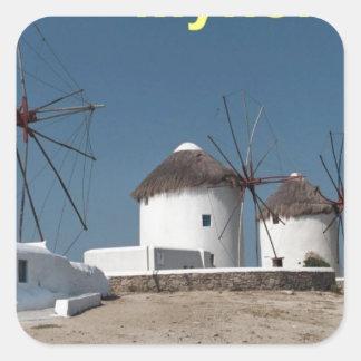Greece Mykonos Windmills (Aggel) Square Sticker