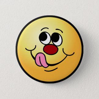 Greedy Smiley Face Grumpey 6 Cm Round Badge
