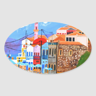 Greek coast oval sticker