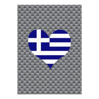 Greek Flag on a cloudy background 13 Cm X 18 Cm Invitation Card