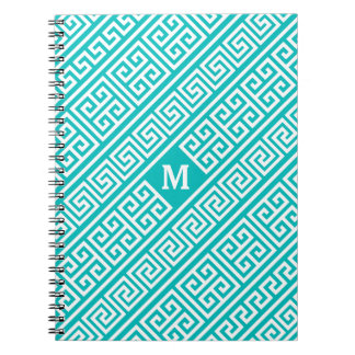 Greek Key Turquoise/White Spiral Notebook