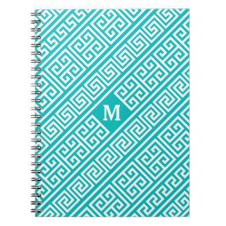 Greek Key Turquoise/White Spiral Notebook