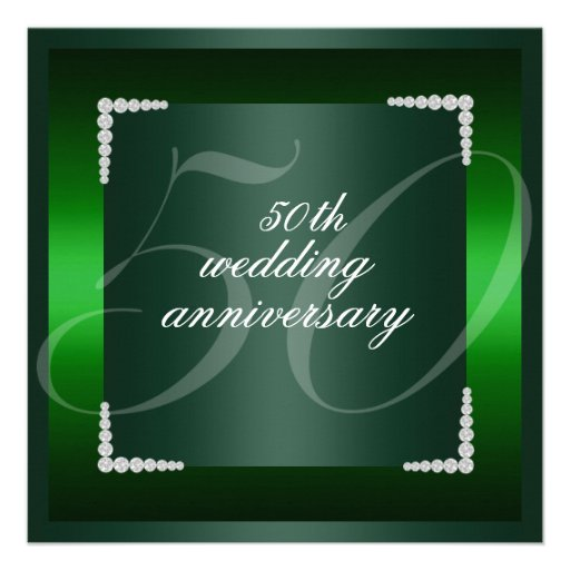 Green 50th wedding anniversary Invitation