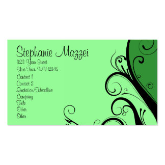 Green Abstract Floral Business Card Template