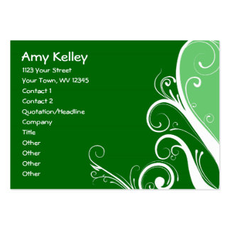 Green Abstract Floral Business Card Templates