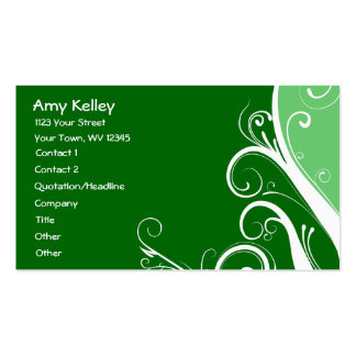 Green Abstract Floral Business Cards