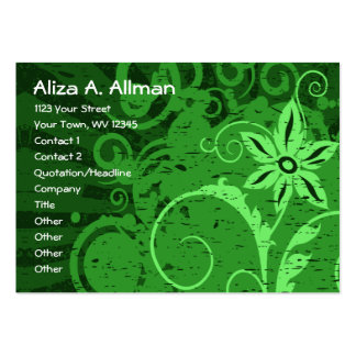 Green Abstract Floral Business Card