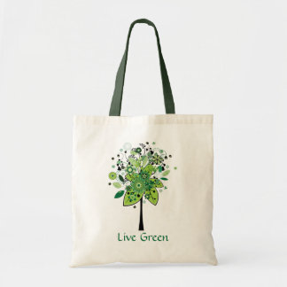 Green Abstract Tree Tote Bag