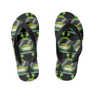Green Alien Flip Flops, Kids Thongs