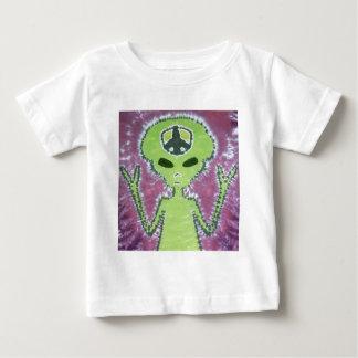 Green Alien Peace Sign Tie Dye Tshirt