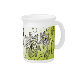 Green and Beautiful Flowers Pitcher