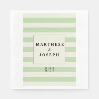 Green and Beige Wedding Paper Napkin