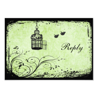 Green and Black Birdcage Lovebirds Reply Card 9 Cm X 13 Cm Invitation Card