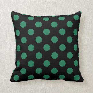 Green and black polka dots throw pillow