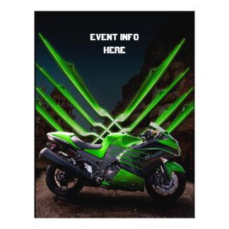 Green and Black sport bike 21.5 Cm X 28 Cm Flyer