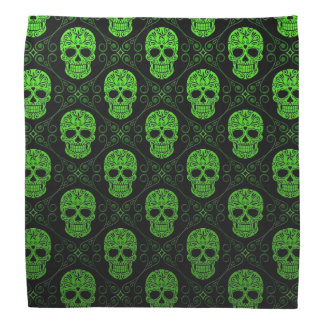 Green and Black Sugar Skull Pattern Bandana