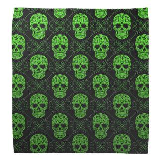 Green and Black Sugar Skull Pattern Bandanna