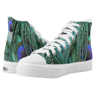 Green And Blue Peafowl Feathers High Tops