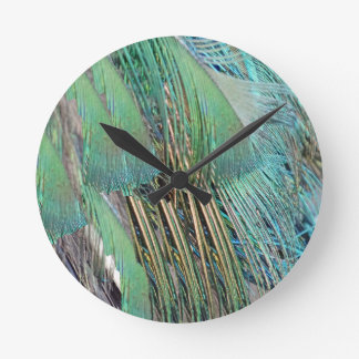 Green And Blue Peafowl Feathers Round Clock