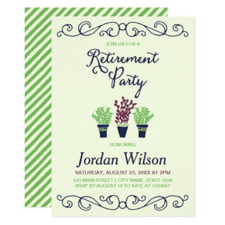 Green and Blue Potted Plants Retirement Party Card