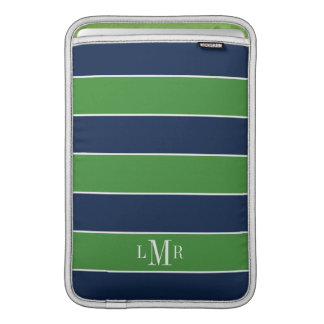 Green and Blue Rugby Stripes Monogrammed Sleeve For MacBook Air
