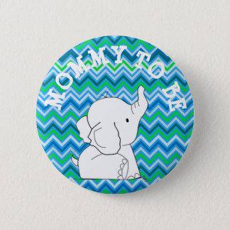 Green and Blue Striped Elephant Baby Shower Pin