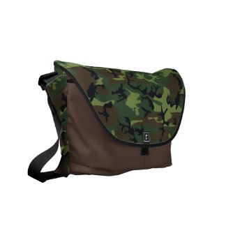 Green and brown camo print messenger bag